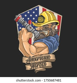 firefighter heroes illustration vector graphic