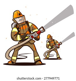 firefighter with the hose extinguish a fire