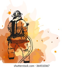 Firefighter with a hose sign. Vector Illustration. Great for any fire safety design projects. Vector Illustration.