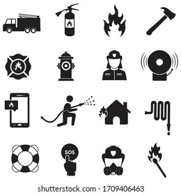 Firefighter icon set, Fire department sign or symbol, vector