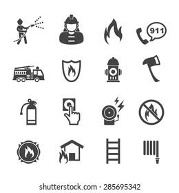 firefighter icons, mono vector symbols