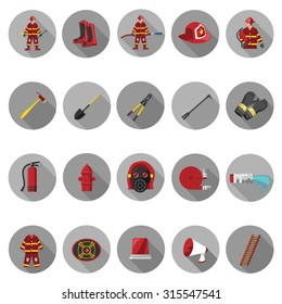 Firefighter icons set in flat design with long shadow. Illustration EPS10