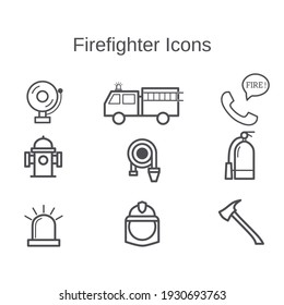 Firefighter icons set isolated on white background – Outline icons.