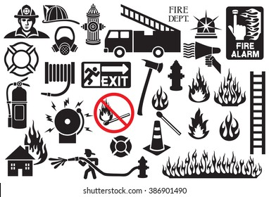 firefighter icons and symbols collection