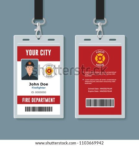 firefighter id badge design template stock vector royalty free
