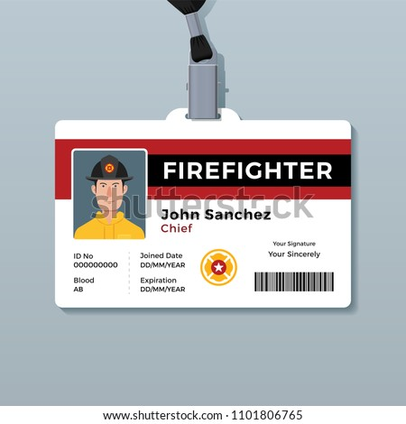 firefighter id badge template stock vector royalty free 1101806765