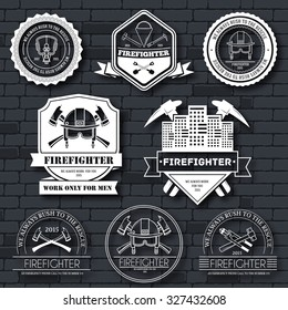 firefighter label template of emblem element for your product or design, web and mobile applications with text. Vector illustration with thin lines isolated icons on stamp symbol