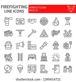 Firefighter line icon set, fireman symbols collection, vector sketches, logo illustrations, fire safety signs linear pictograms package isolated on white background, eps 10.