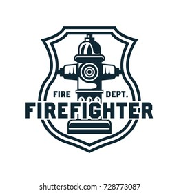 firefighter logo, emblems and insignia with text space for your slogan / tagline. vector illustration