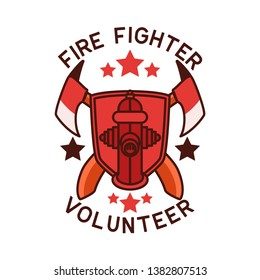firefighter logo isolated on white background. vector illustration