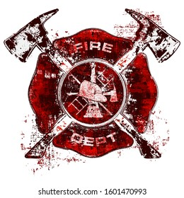 Firefighter Maltese Cross.  Fire Department Symbol.  Fireman Logo.  Grunge T-Shirt Design.  Layered.  Editable.