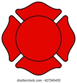 Firefighter Maltese Cross, Vector Illustration.