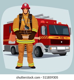 Firefighter, man from fire brigade, standing full face in form of fireman, with personal protective equipment, bunker or turnout gear. In the background a fire truck. Vector illustration