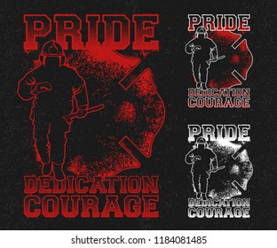Firefighter Man Running pose, with A Firefighter silhouette logo, Typography with quote Pride, dedicated courage
