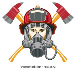 Firefighter with Mask and Axes is an illustration of the head of a firefighter with a mask on and axes behind him.