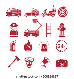 Firefighter Monochrome Icons Set, Emergency, Equipment and Vehicle