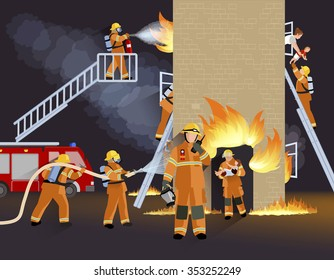 Firefighter people design concept with fire truck burning house  and  brigade saving child flat vector illustration