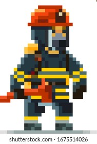 Firefighter Pixel Art Character Isolated on White Background