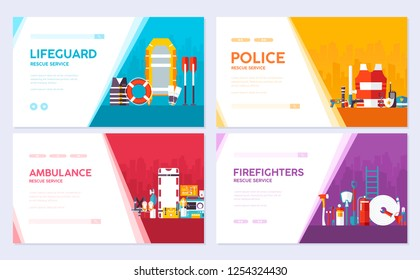 Firefighter, rafting, police, medicine rescue. Emergency services brochure card set. template of flyear, web banner, ui header, enter site. Layout invintation modern slider