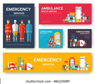 Firefighter, rafting, police, medicine rescue cards template set. Flat design icon of flyear, magazines, posters, book cover, banner. Emergency services layout concept pages with typography background