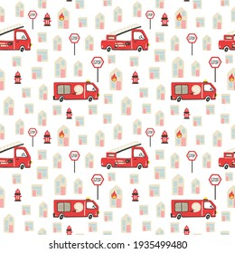 Firefighter seamless pattern. Fire truck with ladder extinguisher and burning house. Hand drawn cartoon scandinavian childish doodle cars. Decor textile wrapping paper wallpaper vector print or fabric