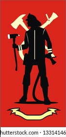 Firefighter silhouette with the axe and sprinkler, red color background combine with the yellow silhouette of axe and sprinkler and the yellow ribbon