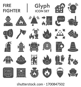 Firefighter solid icon set, Fire safety symbols set collection or vector sketches. Fire services signs set for computer web, the glyph pictogram style package isolated on white background, eps 10