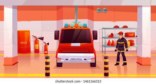 Firefighter stand near fire engine in garage, man in uniform and helmet in room with red car, steel pole, signaling, water barrel, sand box, extinguishers, buckets, hoses. Cartoon vector illustration