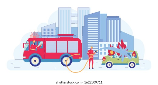 Firefighter Team Coming to Accident to Put Out Flame in Car Flat Cartoon Vector Illustration. Fireman Holding Hose with Water. Fire Engine with Emergency Lights. Burning Vehicle. Cityscape.