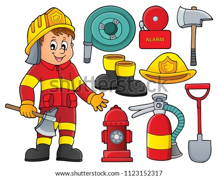 Firefighter theme set 2 - eps10 vector illustration.