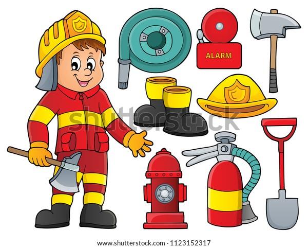Firefighter theme set 2 - eps10 vector illustration.