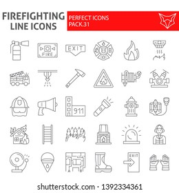 Firefighter thin line icon set, fireman symbols collection, vector sketches, logo illustrations, fire safety signs linear pictograms package isolated on white background, eps 10.