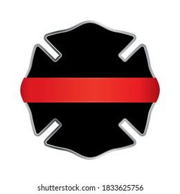 Firefighter Thin Red Line Badge Emblem Illustration