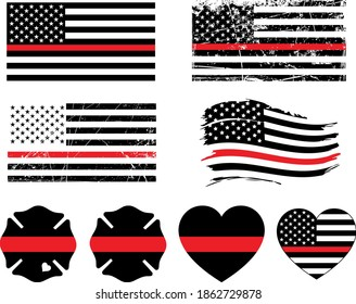 Firefighter Thin Red Line Isolated on White Background