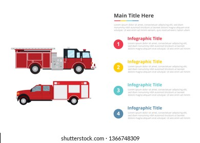 firefighter truck infographics template with 4 points of free space text description - vector illustration