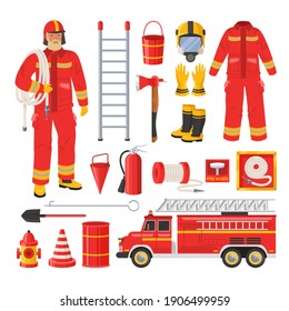 Firefighter uniform, tools and equipment set flat vector isolated illustration. Fireman, red fire engine, water hose, extinguisher, hydrant, ladder, axe, bucket, fire alarm, hook, helmet and gas mask.