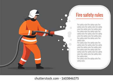 A firefighter uses a water hose to extinguish the fire. uniformed firefighter, fire rescue. illustration for a target web page, banner, presentation, promotion, or print media.