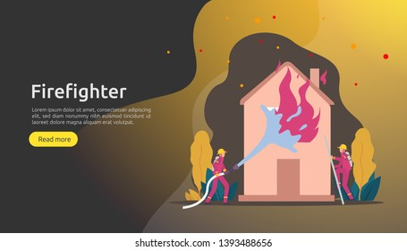 Firefighter using water spray from hose for fire fighting burning house. fireman in uniform, fire department rescuer. illustration for web landing page, banner, presentation, promotion or print media
