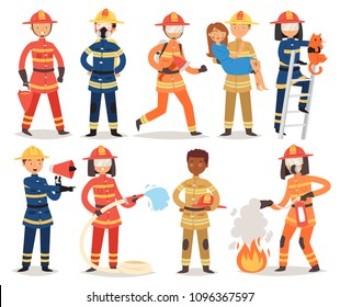 Firefighter vector cartoon fireman character firefighting fire with firehose hydrant and fire extinguisher equipment illustration set of man or woman in helmet isolated on white background