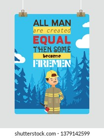 Firefighter vector cartoon fireman character firefighting fire with firehose hydrant and fire extinguisher equipment illustration backdrop man or woman in helmet background.
