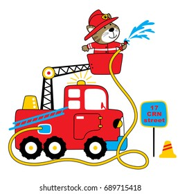 firefighter vector cartoon illustration