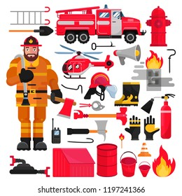 Firefighter vector firefighting equipment firehose hydrant and fire extinguisher illustration firefighting set of firemans uniform with helmet and fire-engine helicoptor isolated on white background