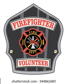 Firefighter Volunteer Badge is an illustration of a firefighterâ??s or firemanâ??s shield or badge with a Maltese cross and firefighter tools logo.