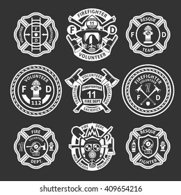 Firefighter white label or stripes set on form for firefighters on a black background vector illustration