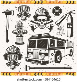 Firefighters attributes and equipments set of vector objects and design elements in vintage monochrome style with grunge textures on separate layer and frame of caution tape