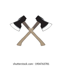 Firefighters Cross Axes. Crossed Axes Vector Illustration