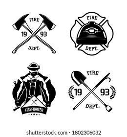 Firefighters emblems set. Fire department symbols with fireman, helmet, crossed axes. Monochrome vector illustrations for emergency, rescue, job concepts