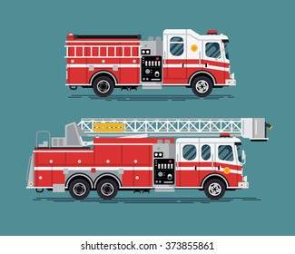Firefighters emergency vehicles. Cool vector emergency vehicles fire engine trucks featuring telescopic ladder tower platform truck in trendy flat design