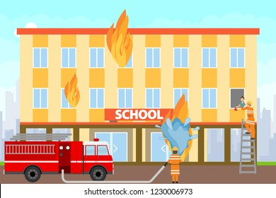 Firefighters extinguish a burning building. Firefighters on a fire truck extinguish the school building with water. Vector illustration of extinguishing the fire.