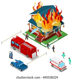 Firefighters Extinguish a Fire in House Isometric City. Fireman Helps Injured Woman. Vector 3d Flat illustration